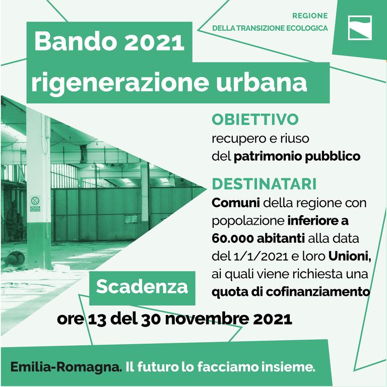 Bando 2021 rigenerazione urbana: obiettivi e destinatari