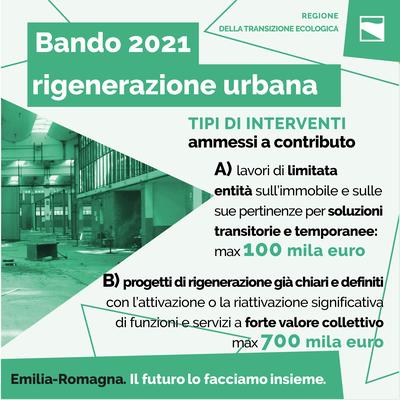 Bando 2021 rigenerazione urbana: tipi di interventi ammessi a contributo