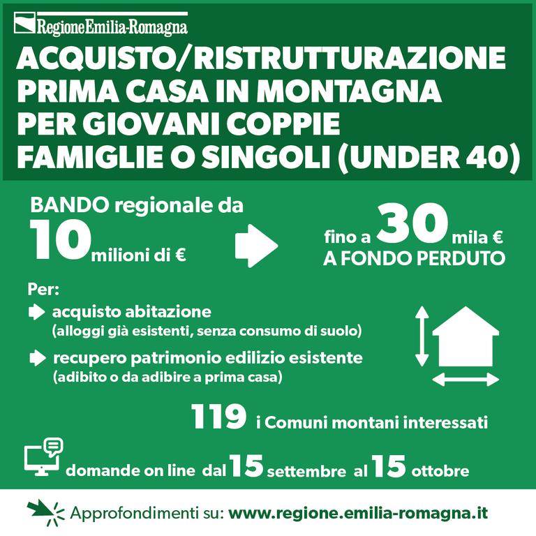 Acquisto/ristrutturazione prima casa in montagna per giovani coppie, famiglie o singoli (under 40)