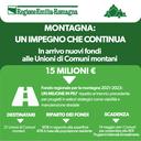 Montagna, un impegno che continua. In arrivo 15 milioni di euro alle Unioni di Comuni montani