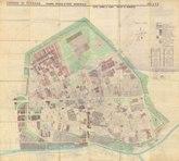 Tavola del PRG di Ferrara, la città entro le mura, 1960